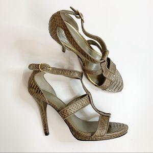 Lauren Ralph Lauren Snakeskin Strappy Sandal 8